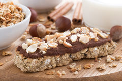 Oat Bar With Chocolate On Wooden Board, Selective Focus Royalty Free Stock Photos