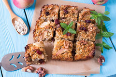 Oat bars with apples and nuts Stock Images