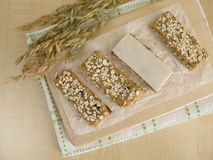 Oat bars with nuts and raisins Stock Image