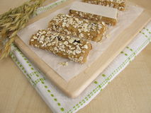Oat bars with nuts and raisins Royalty Free Stock Images