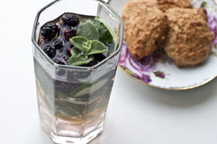 Oat biscuits and fresh cold lemonade Stock Image