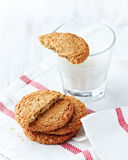 Oat biscuits with a glass of milk Stock Photos