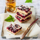 Black Currant Slice with a Glass of Tea. Oat and Black Currant Slice with a Glass of Tea, square Royalty Free Stock Photography