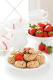 Oat bran, coconut and strawberry cookies Royalty Free Stock Image