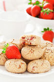 Oat bran, coconut and strawberry cookies Stock Photography