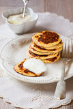 Oat Bran Pancake. With yogurt Stock Photo