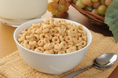Oat breakfast cereal. Bowl of oat ring breakfast cereal with a pitcher of milk Stock Image