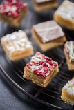 Oat brownie bites on cooling tray Royalty Free Stock Photos