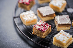 Oat brownie bites on cooling tray Royalty Free Stock Photo