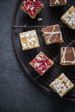 Oat brownie bites on cooling tray Stock Photography