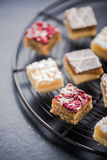 Oat brownie bites on cooling tray Royalty Free Stock Images