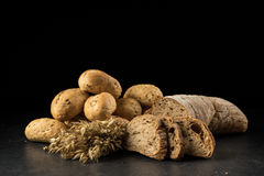 Oat bunch, baked white bread Stock Photography