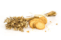 Oat bunch and cookies Stock Photography