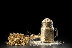 Oat bunch and flakes in flavouring jar,  on black background. Grain bouquet, golden oats spikelets on dark wooden table, c Royalty Free Stock Photos