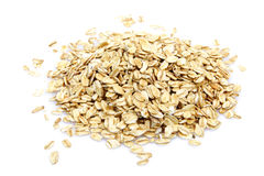 Oat cereal. On white background. It is common ingredient of healthy meal Royalty Free Stock Photography