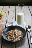 Oat cereal with fresh milk and green apples Royalty Free Stock Photos