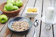 Oat cereal with fresh milk and green apples Stock Photo