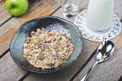 Oat cereal with fresh milk and green apples Royalty Free Stock Images