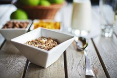 Oat cereal with fresh milk and green apples Stock Photos