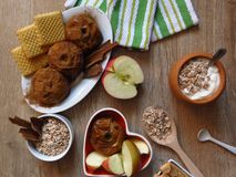 Top view. Oat cereal grain meal, baked and fresh apples, biscuits, yogurt and cinnamon on rustic style oak wood background. Top view. Avena Sativa Aveia. Oat royalty free stock images