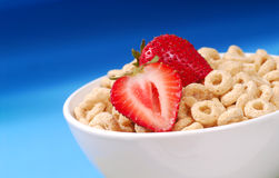 Oat cereal with strawberries Royalty Free Stock Image