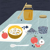 Oat cereals granola with honey and fresh blueberries. Rustical cartoon illustration. Stock Image