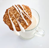 Oat cookie with milk Stock Images