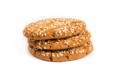 Oat cookie with sesame seeds Royalty Free Stock Photography