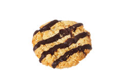 Oat cookie with stripes Royalty Free Stock Photo