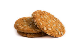 Oat cookie with sunflower seeds Royalty Free Stock Images