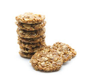 Oat cookies. Organic oat cookies isolated on white background Royalty Free Stock Photo