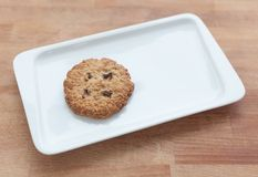 Oat cookies with chocolate chips on a plate Royalty Free Stock Image