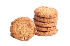 Oat cookies isolated. Oat cookies closeup isolated on white background royalty free stock image