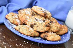 Oat cookies with coconut flour in blue arrangement. royalty free stock images