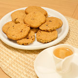 Oat cookies with espresso coffee Royalty Free Stock Photography