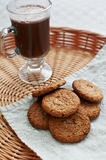 Oat cookies with hot cocoa Stock Photography