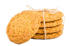 Oat cookies with linen rope stock photo