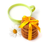 Oat cookies with milk Royalty Free Stock Photography