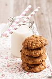 Oat cookies with milk Stock Images