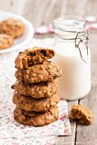 Oat cookies with milk Royalty Free Stock Images