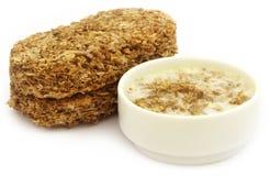 Oat cookies in milk Royalty Free Stock Image