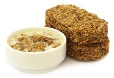 Oat cookies in milk Stock Image