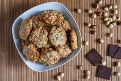 Oat cookies. With chocolate and hazelnut Stock Photos