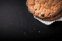 Oat cookies on the old shabby background. tinted Stock Image