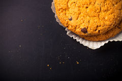 Oat cookies on the old shabby background. tinted Stock Photos