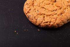 Oat cookies on the old shabby background. tinted. with space for Royalty Free Stock Photos