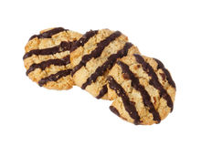 Oat cookies with stripes Royalty Free Stock Image