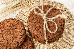 Oat cookies and wheat Royalty Free Stock Images
