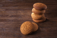 Oat cookies on wooden table Royalty Free Stock Photo