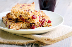 Oat and cranberry bars. Selective focus royalty free stock image